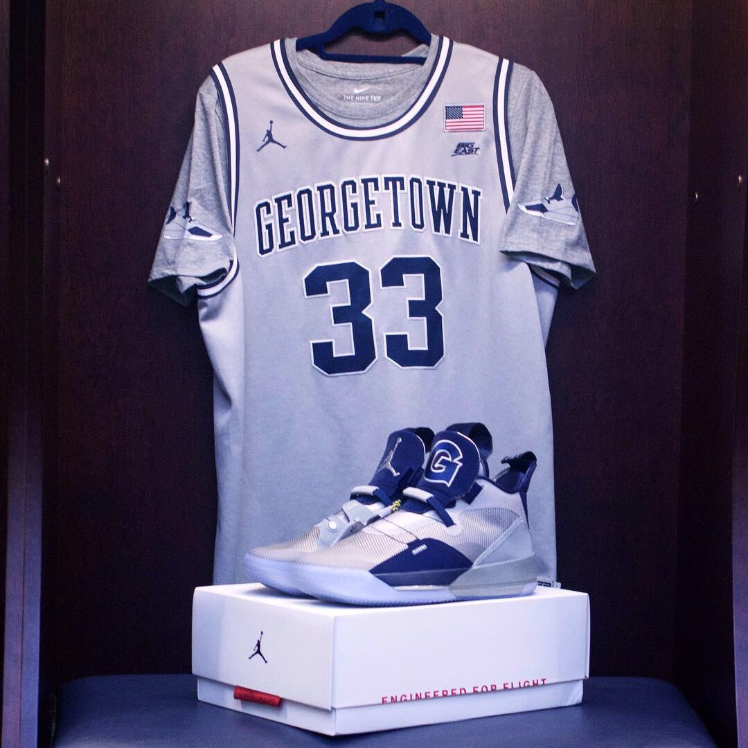 9c9951b9f7a3 The Hoyas reveal included a vintage grey t-shirt as an ode to Head Coach  Patrick Ewing