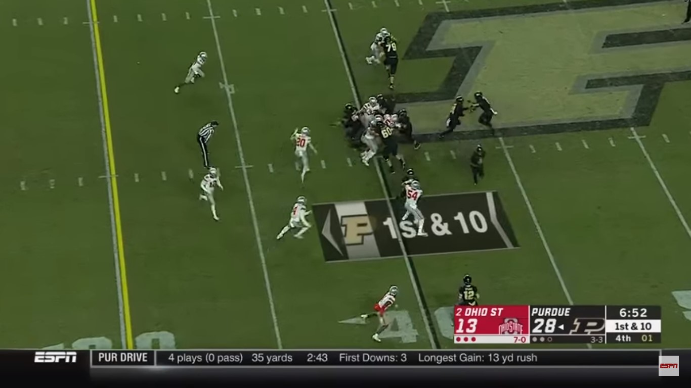 Purdue's final offensive touchdown of the game came on 3rd & 7 at Ohio State's 43-yard line, where Moore went into motion from right to left and caught a ...