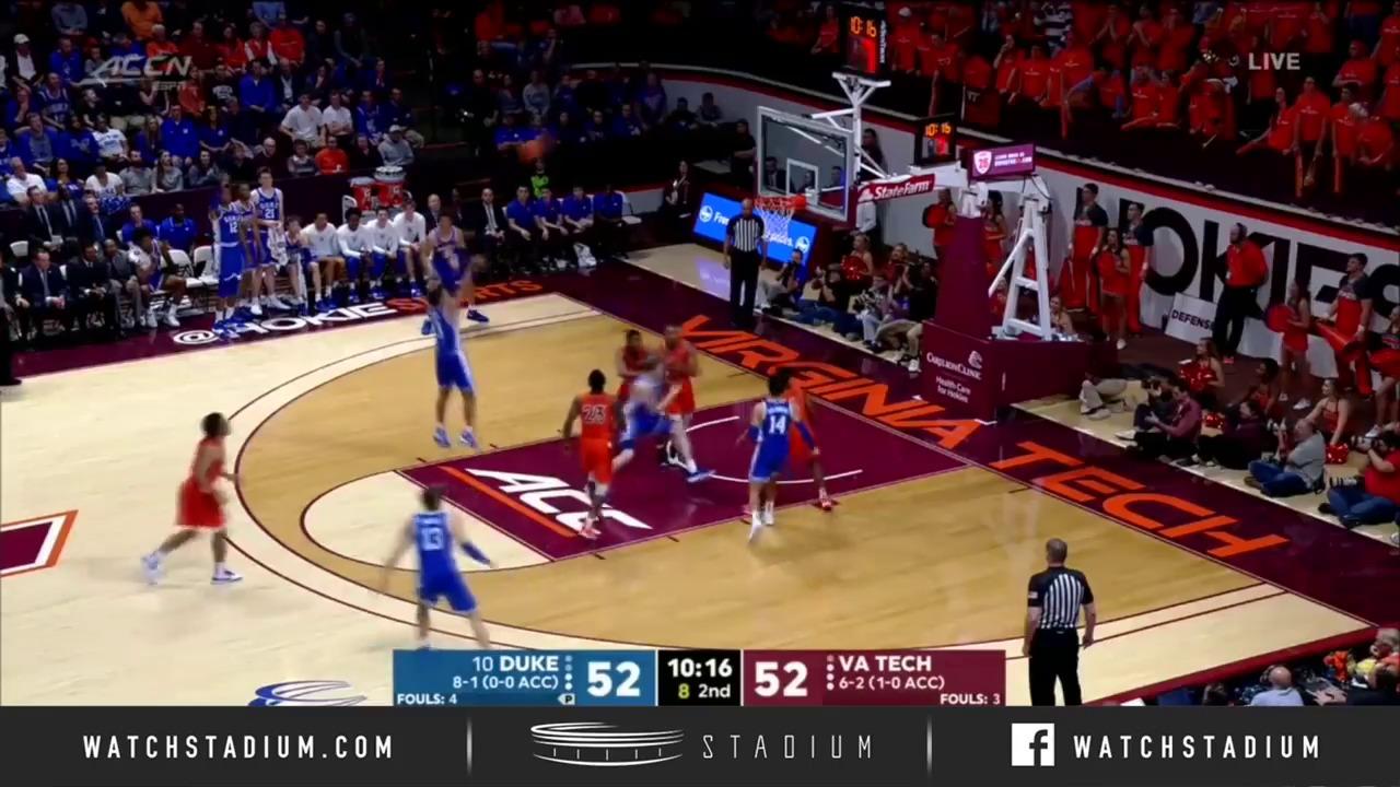 No 10 Duke Basketball Top Plays Vs Virginia Tech 2019 20 Stadium